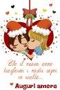 Auguri natalizi col bacio al partner