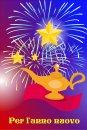 Buon Anno con il genio della lampada di Aladino